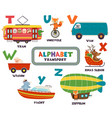 alphabet with transport and animals t to z vector image vector image