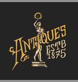 antique frame label vintage golden card shop vector image vector image