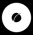 Apricot fruit simple black and green icon eps10