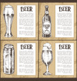 beer glass bottle can and mug vintage poster vector image vector image