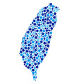 blue spot taiwan island map mosaic vector image