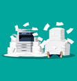 businessman in pile of office papers and printer vector image vector image