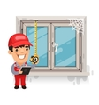 Carpenter Measures the Old Window vector image vector image