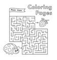 cartoon ladybug maze game vector image vector image