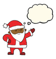 cartoon santa claus with thought bubble vector image