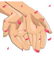 character pair of hands with pink petals that fall vector image vector image
