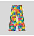 Color Puzzle Piece Jigsaw Letter - A vector image vector image