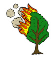 comic cartoon burning tree vector image vector image