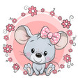 cute cartoon mouse with pink flowers vector image vector image