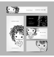 Cute girl smiling set of business cards your vector image