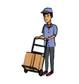 delivery man with cardboard box and push cart vector image vector image