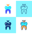 dental crown icon set in flat and line style vector image