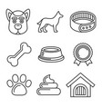 dog icons set on white background line style vector image vector image