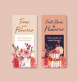 Flyer template with autumn flower concept design