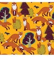 Fox in forest color seamless nature pattern vector image
