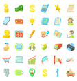 globe business icons set cartoon style vector image vector image