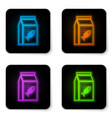 glowing neon bag food for cat icon isolated on vector image
