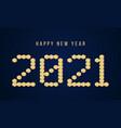 gold happy new year 2021 block typography vector image vector image