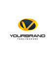 golden letter v logo curved oval shape auto guard vector image vector image