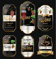 golden wine labels retro vintage design collection vector image