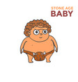 hand drawn cartoon stone age baby vector image vector image