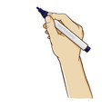 hand holding whiteboard marker vertically vector image vector image