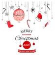 Handdrawn watercolor christmas doodle postcard vector image