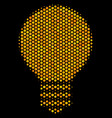 hexagon halftone electric bulb icon vector image vector image