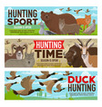 hunting sport animals and birds hunt open season vector image vector image
