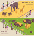 isometric zoo horizontal banners vector image vector image