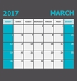 March 2017 calendar week starts on Sunday vector image vector image