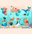 mermaids under water cartoon characters people vector image vector image