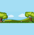 nature scene with trees and hills vector image