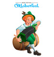 oktoberfest beer festival young german man sit on vector image vector image