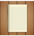 Open notebook page on wooden background vector image