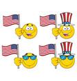 patriotic yellow cartoon emoji face collection - 3 vector image vector image