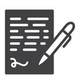 pen signing solid icon business contract sign vector image vector image