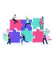 puzzle teamwork people work together and connect vector image vector image