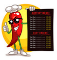 red pepper mascot holding menu vector image vector image