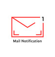 red thin line mail notification icon vector image vector image