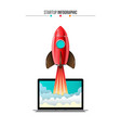 rocket flying from laptop vector image vector image