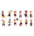 school student characters schoolboys friends vector image