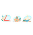 set male and female characters yoga sport vector image
