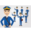 set of friendly young postmen with bag vector image vector image
