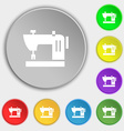Sewing machine icon sign Symbol on eight flat vector image