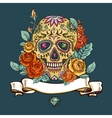 skull and flowers day the dead vector image