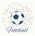 soccer ball and vintage sun burst frame vector image