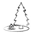 tree pine and bonfire vector image vector image
