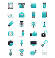 Turquoise black business icons set vector image vector image