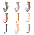 various combination fishnet letter j vector image vector image
